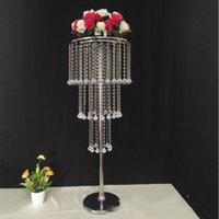 10 adet / grup Akrilik Kristal Düğün Centerpieces Altın Gümüş Kaplama Metal Çiçek Topu Tutucu Vazo Standı Parti Dekorasyon Noel Dekor