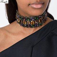 Brand Big Rhinestone Choker Bib uttalande halsband Crystal Luxury Chunky Collar Maxi Smycken Bröllop Tillbehör