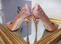 مصمم العرسان عالية الكعب أحذية 10 سنتيمتر أزياء رالف روسو شعار الوردي النساء عدن المعادن زهرة مضخات أحذية لحفل الزفاف مساء حزب حفلة موسيقية الأحذية