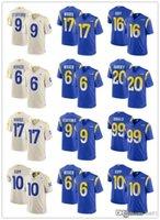 """남성 여성 로스 앤젤레스 """"램즈""""저지 9 Matthew Stafford 99 Aaron Donald 20 Jalen Ramsey 10 Cooper Kupp Football Jerseys"""