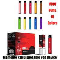 Аутентичные Memento K18 Одноразовые устройства для устройств POD POD 850MAH аккумулятор 1500 слойки префиден 4,8 мл. Картридж Vape Pen Original VS Bar Plus