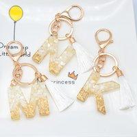 1pc Gold Tassel Alphabet Keychain English Letter Keyring Glitter Gradient Resin Leaf Crafts Car Mirror Handbag Charms