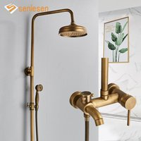 Bagno doccia set sensenen antiquariato rubinetti in ottone set ceramica porcellana spout girevole a montaggio a parete doppio manopole miscelatore tap kit da bagno