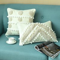 Cushion Decorative Pillow Homestay Pillowcase Nordic Style Handmade Tufted Cushion Cover With Ball Shape Tassel Home Office Car Seat Throw P