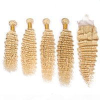 # 613 금발의 페루 버진 인간의 머리 탑 클로저 딥 웨이브 4Bundles 금발 머리 위사가 4x4 레이스 프론트 클로저 5pcs 로트