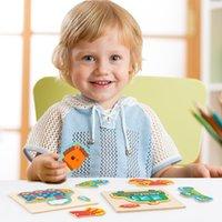 طفل ثلاثي الأبعاد 3D الألغاز الخشبية بنيل الخشب الحيوان للأطفال من 1 إلى 4 سنوات الفتيان والفتيات التعليم المبكر اللعب