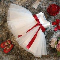 Weißes Kleid für Mädchen Taufe Kleidung 1 Jahr Baby Mädchen Geburtstagskleid Prinzessin Rote Schleife Bogen Weihnachten Kinder Kleider Für Mädchen 427 y2