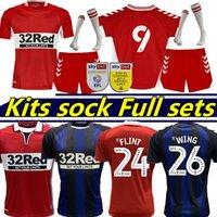 2021 2022 Middlesbrough Jerseys de futebol Ashley Michael Fletcher Flint Wing Assombalonga Akpom 21/22 Casa Homens Vermelhos + Kits Kits Mock Conjuntos Full Sockes