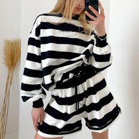 Women's Tracksuits YANA Fashion Loose Striped Suits Women Elegant O Neck Casual Long Sleeve Tops Suit Drawstring Flare Shorts Ladies