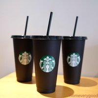 Starbucks Tumbler beverage cups 24OZ 710ml Plastic Lid Reusable Clear Drinking Flat Bottom Pillar Shape Straw Bardian Color changing black cup