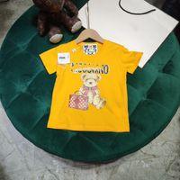 2021SS Novos designers Roupas Crianças Camiseta Bebê Designer Roupas Combed Algodão Mos Simples Padrão T-shirt Meninos Camiseta Amarelo 100-150