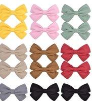 Niña niños arco arco boutique todo incluido tela bebé pelo color puro color algodón y cáñamo arco niños accesorios para el cabello G22406