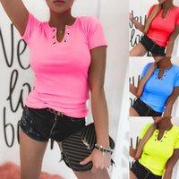 Women's T-Shirt Summer Fashion Women Slim Shirt Casual Short Sleeve Pullover Shirts 2021 Sexy Female V-Neck Tops Blusa Streetwear XXL
