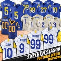 """99 Aaron Donald Matthew Stafford Jersey Cooper Kupp 5 Jalen Ramsey Jerseys Cam Akers Robert Woods Los Angeles """"Rams"""" 1 Desean Jackson"""