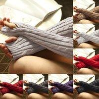 Fünf Finger Handschuhe Damenmode gestrickte Twisted Warm Winter Dicke Feste Farbe Fingerlose Arm Lange Outdoor-Wandern