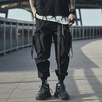 Men's Pants Multi-Pockets Jogging Japanese Streetwear Ribbon Cargo Men Clothing Harajuku Fashion Black Tactical