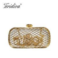 Вечерние сумки Teridiva Женские бриллианты металлические полые женские сплавы смешанные цветные цепь плеча кошелек для вечеринки