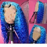 Preplucked 깊은 파도 인간의 머리 가발 표백제 매듭 브라질 레미 옴 브레 블루 컬러 HD 투명 레이스 프론트 가발 아기 머리카락