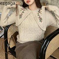Ezgaga tricoté pull pull pull Femme hiver printemps prolongation chaude tour route collet broderie fleur pull sucré