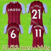 2021 Healish Aston Villa Soccer Jersey 22 22 Главная Футбольная Рубашка Уэсли-эль-Гази Макгинн Дуглас Луиз Джота Коджа Майооты Ног Мужчины + Детский комплект