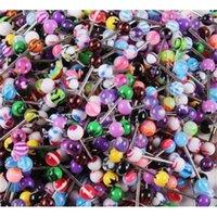 100 قطع مختلط اللون الاكريليك اللسان مسمار للنساء لون الحلوى ثقب اللسان ثقب الدائري ترصيع الحديد مجوهرات