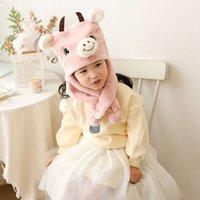 Children's set thickened bear winter warm rabbit hair hat baby collar cartoon Plush scarf