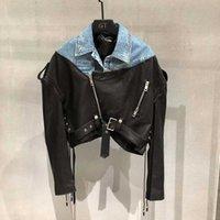 Fabpop 봄 여성 Kobiety Paszcze 정품 가죽 자켓 벨트 진짜 양피 코트와 함께 데님 옷을 연출합니다. GB215 210709