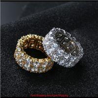 7-12 Gold Silber Farbe Überzogene Ringe Micro Gepflasterte 2 Reihe Tennisringe Zirkon Hip Hop Fingerring Für Männer Frauen Xnguh Izu7V