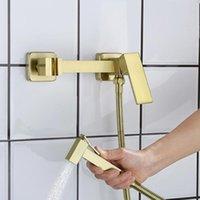 BiDet Capity Set Щетка Золотая Настенная Настенная Ванная комната Биде Кран Высокое Давление Туалет Путешебник Латунь Горячий и холодный