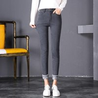 Women's Jeans Winter Plush Female High Waist Thickened Warm Elastic Thin Outer Wear Small Leg Pants Cashmere