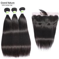 Human Hair Bulks Grand Nature Malaysian Bundles With Closure 4pcs Lot Straight Preplucked Lace Frontal Remy