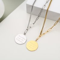 necklace stainless steel special-shaped brand Personalized Nelace fashionable simple English three color optional double-sided accessories clavicle