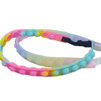 10.82inch sports headband hair band push pops poppet bubble fidget toys hairbands rainbow tie dye sensory adjustable strap hairlace anti anxiety gift toy G95E2XY