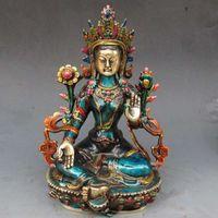 Antike bronze reines kupfer altes messing china handgeschnitzt cloisonne buddhistische statue von buddha green tara