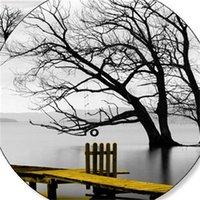 Спокойный озеро поверхность длинного желтого моста сцена черный белый холст картины плакат печатает настенное искусство фотографии гостиной дома 693 K2