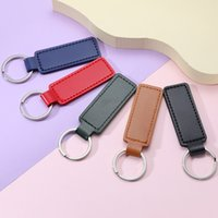 Creative PU Leather Keychain Metal Keyring Car Keychains Pendant Personalise Gift Key Chain 10 Colors Free DHL C3