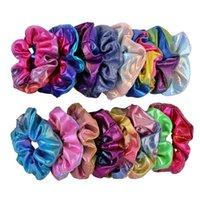Frauen glänzend Laser Scrunchies Haarband Seil PU-Leder Elastische Haar Ring Mädchen Pferdeschwanzhalter Kreis Gradienten Scrunchie Mode Stirnband