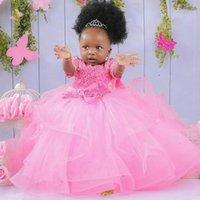 Girl's Dresses O-Neck Flower Girl Short Sleeves Little Wedding Communion Pageant Gowns