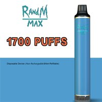 Randm Max 1700 Puffs Disposable Vape E cigarettes Kit 6ml Pod 16 Colors with adjustable airflow and flashing led light at the bottom