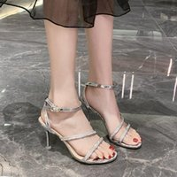 Sandals Women Summer 2021 Fashion Thin Heels Wedding Party Shoes Sexy Peep Toe Slingback High Pumps Mujer Zapatos