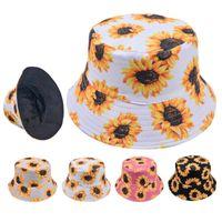 Wide Brim Hats Sunflower Bucket Hat In Cotton Fisherman Cap Travel Sunhat Outdoor Panama For Men Women With Flat Top