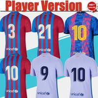 # 10 Messi Player Version LFP Jersey de football 2021/2022 HOMME HOMME CHEMISE DE SOCCER BLUE ROUGE ALLEPULTURE UNIFORMES DE FOOTBALL PURPLE 3ème T-shirt Personnalisé 21/22