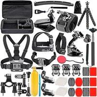 Gopro Accessories Set For Go Pro Hero 9 8 7 6 5 4 Kit 3 Way Selfie Stick, f-or Eken h8r   fo-r yi EVA Case VS77, Black Mount Action Camera
