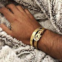 Мужчины браслет из нержавеющей стали браслеты браслеты мужские мода титановый сталь браслет для мужчин типа C витой браслеты браслеты золотые браслеты 21 U2