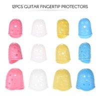 12pcs Acoustic Guitar Fingertip Protectors Silicone Finger Guards for Ukulele Bass 4 Colors