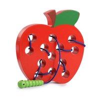 Montessori Educacional De Madeira Puzzles Divertido Brinquedos Inseto Comer Fruta Threading Game Early Aprendizagem Educação Auxílio de Ensino Bebê Crianças Presente 210607