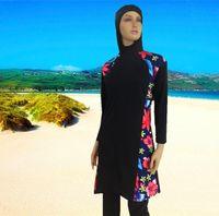 Nuovo hot wholesale all'ingrosso donna islamica nuotata donna ad alta vita a maniche lunghe abitabile vestito costume da bagno musulmano