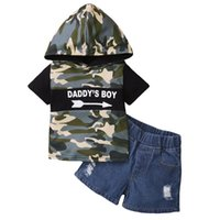 Clothing Sets Summer Camo Kids Boys Clothes 2Piece Short Sleeve Cotton Baby Outfit Hooded Tops+Denim Shorts Toddler Boy D20