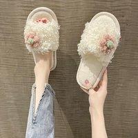 Slippers Shoes Woman 2021 Female Flock Luxury Slides Fur Flip Flops Low Flower Massage Designer Plush Flat PU Basic Fabric