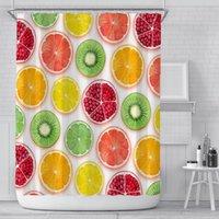 여름 과일 샤워 커튼 180 * 180cm 노란색 파인애플 오렌지 수박 패턴 폴리 에스터 패브릭 방수 욕실 커튼 HWA3954